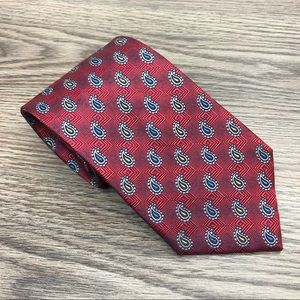 Jos A Bank Red w/ Grey & Blue Paisley Tie